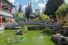 People at a bridge at the Wong Tai Sin Temple Royalty Free Stock Photo