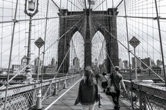 People on the Brooklyn bridge in New York Stock Images