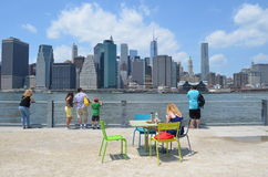 People at Brooklyn Bridge Park Royalty Free Stock Images