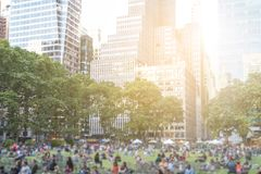 People in Bryant Park in Manhattan, New York City Royalty Free Stock Photos