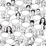 People and bubbles seamless pattern black and whit. Big group of unrecognizable people with bubbles. Black lines vector illustration Royalty Free Stock Photos
