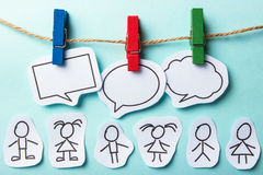 People with bubbles social networking. Paper people with colorful blank dialog speech bubbles. Social networking concept Royalty Free Stock Photography