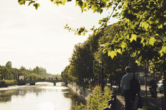 People of Bucharest and Dambovita river in Izvor area Stock Photography