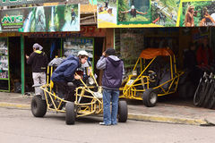 People and Buggy in Banos, Ecuador Royalty Free Stock Images