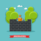 People build bricks wall. Construction site concept vector banner. Royalty Free Stock Images