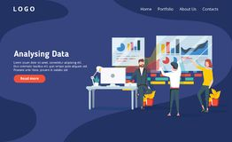 People build a dashboard and interact with graphs on the dark blue backgroung. Data analysis, and office situations. Landing page template. Modern new vector stock illustration