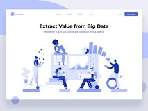 People build a dashboard and interact with graphs. Data analysis, and office situations. Landing page template. Flat. People build a dashboard and interact with vector illustration
