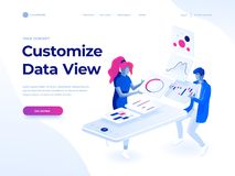 People build a dashboard and interact with graphs. Data analysis, and office situations. Landing page template. Isometric vector illustration vector illustration