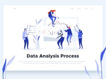 People build a dashboard and interact with graphs. Data analysis, and office situations. Landing page template. vector illustration