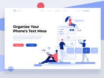 People build a mobile application and interact with parts of interface. App development. Landing page. Flat vector illustration. People build a mobile stock illustration