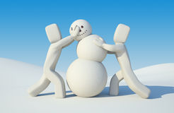 People build snowman. Illustration for New Year and Christmas stock illustration