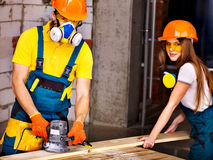 People in builder helmet . Stock Photo