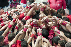 People building Castells or human Towers Stock Photo