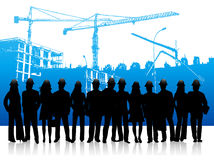 People and building site. Illustration of people and building site