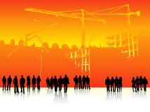 People and building site. Illustration of people and building site Stock Photos