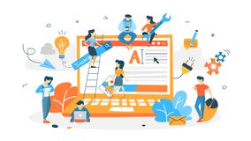 People building website. On the computer. Web page design and website development concept. Team creating interface. Isolated flat vector illustration vector illustration