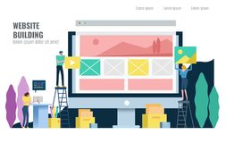 People building website. Under construction concept. Flat design vector illustration Stock Illustration