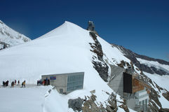 People and buildings on Jungfaujoch pass in Switzerland. Stock Images