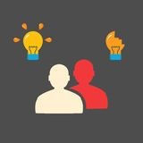 People and bulbs. Flat concept Stock Photos