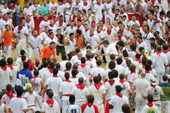 People in the bull ring during San Fermin Stock Photo