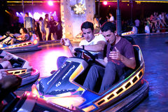 People at bumper cars at Sonar Festival Stock Photography
