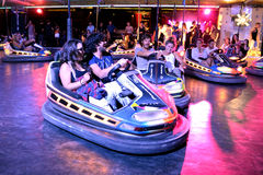 People at bumper cars at Sonar Festival Stock Images