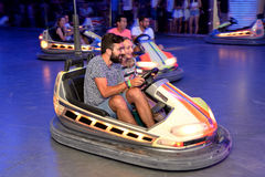 People with bumper cars at Sonar Festival Royalty Free Stock Image