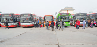 people in bus station Stock Photography