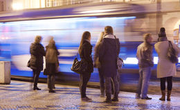 People on the bus-station on Evening Royalty Free Stock Photo