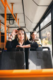 People in the bus. she wondered transport. Stock Images