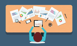 People business on finance investment workspace .business man .top view concept Royalty Free Stock Photo