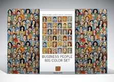 People business seamless pattern and icons set Royalty Free Stock Photos