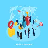 People in business suits perform various activities related to the business world. An isometric image vector illustration
