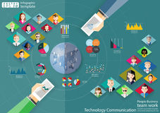 People Business team work Technology Communication across world modern Idea and Concept Vector illustration Infographic template w Royalty Free Stock Photography