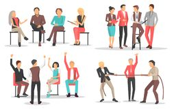People at Business Training Raise Qualification. And leadership skills  cartoon flat vector illustrations set on white background Royalty Free Stock Photography