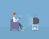 People businessman watching television on sofa .flat vector cartoon Royalty Free Stock Photos