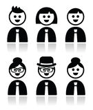 People in bussiness clothes, tie icons set Royalty Free Stock Photo