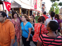 People on Busy Adams Morgan Day. Photo of people and restaurants in adams morgan in washington dc on 9/13/15 on adams morgan day. This diverse neighborhood has royalty free stock images