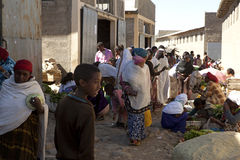 People in a busy market street, Ethiopia Royalty Free Stock Photo