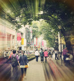 People in busy shopping street, busy urban city street Stock Images
