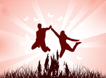 People and butterflies. Illustration of people and butterflies Royalty Free Stock Images