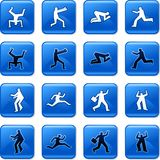 People buttons. Collection of blue square people rollover buttons Royalty Free Stock Image