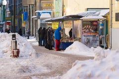 People buy cheap books in Arbat street Royalty Free Stock Photo
