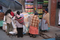 People buy food in a street of La Paz, Bolivia Stock Photography