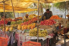 Street fruit and vegetables traditional retail shop in India Stock Photo