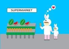 People buy goods fruit vegetable supermarket. Customer market illustration vector cartoon sell channel consumer behavior love like rabbit carrot watermelon Vector Illustration