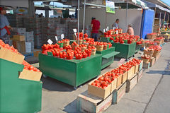 People buy groceries at Jean-Talon Market Royalty Free Stock Images