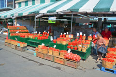 People buy groceries at Jean-Talon Market Stock Image