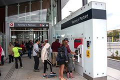 Free People Buy Tickets For New LRT System At Tunney&x27;s Pasture Station Royalty Free Stock Photo - 158681265