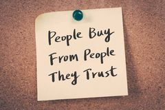 People buy from people they trust Royalty Free Stock Photos
